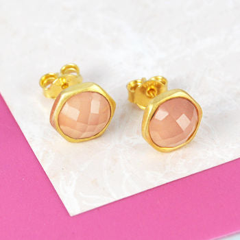 Pink Chalcedony Rose Cut Gold Stud Earrings