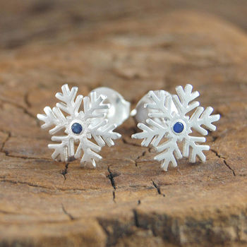 Silver Snowflake Blue Sapphire Earrings