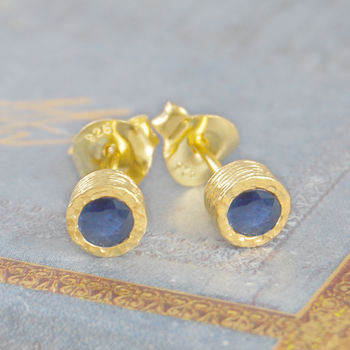 Rich Blue September Sapphire Gold Stud Earrings