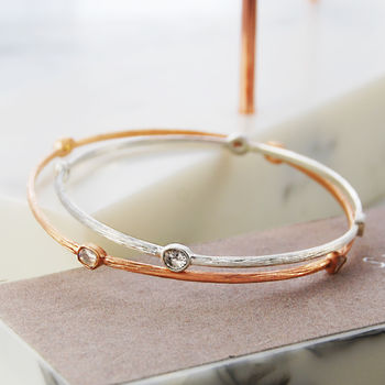 Rose Gold And Silver Orbit Diamond Bangle