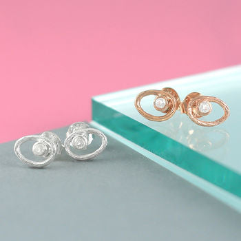 Rose Gold And Silver Topaz Oval Stud Earrings