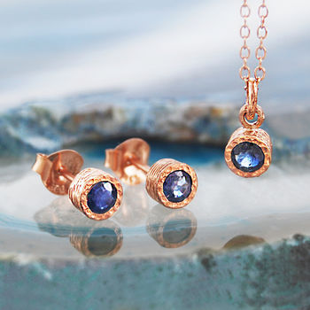 Rose Gold Blue Sapphire September Birthstone Necklace