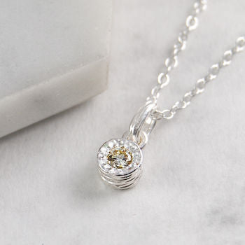 Genuine White Diamond Textured Solitaire Necklace