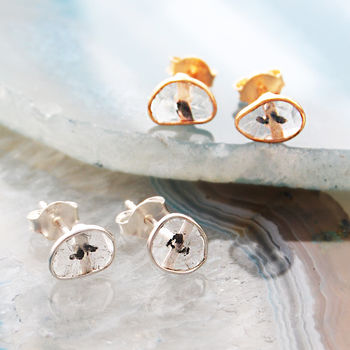 Rose Gold Silver Diamond Slice Stud Earrings