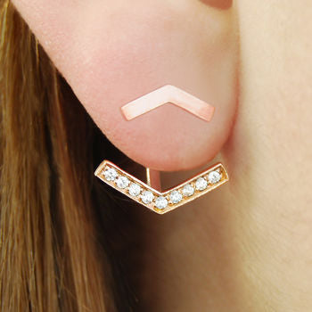 Rose Gold Anchor White Topaz Ear Jacket Earrings