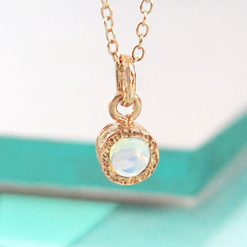 Rose Gold Opal Birthstone Necklace