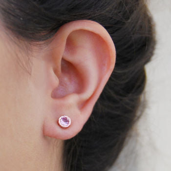 Rose Gold Pink Tourmaline Birthstone Stud Earrings