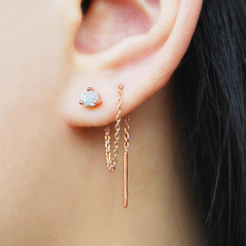 Rose Gold Raw Diamond Chain Threader Earrings