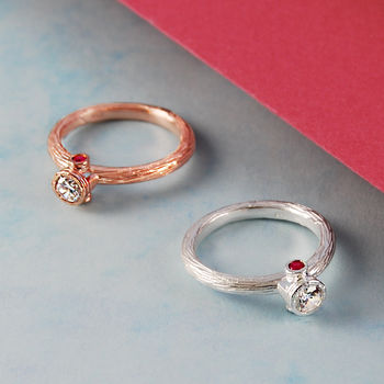 Rose Gold/Silver Topaz Birthstone Ruby Ring