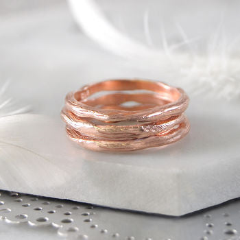 Textured Rose Gold Single Stacking Ring