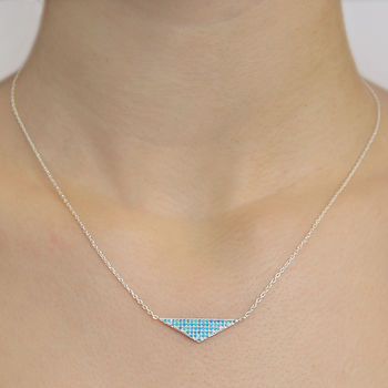 Silver Turquoise Birthstone Triangle Necklace