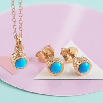 Rose Gold Round Blue Turquoise Birthstone Gift Set
