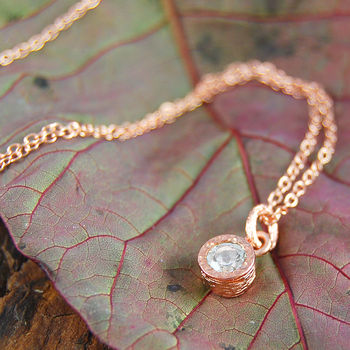Rose Gold White Topaz Dot Necklace