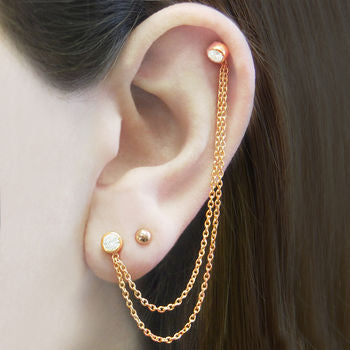 Rose Gold Chain White Topaz Gemstone Ear Cuff Earrings