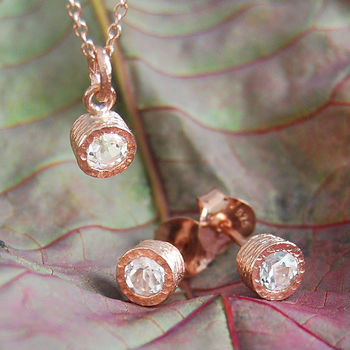 Gemstone White Topaz Rose Gold Jewellery Gift Set