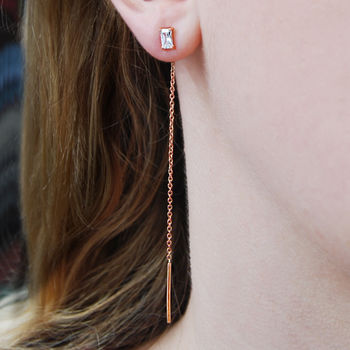 Rose Gold White Topaz Geometric Threader Earrings