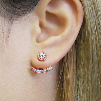 Rose Gold Topaz Round Ear Jacket Stud Earrings