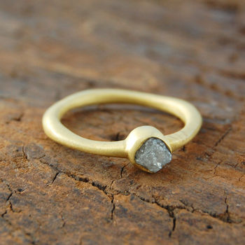 Anniversary Rough Diamond April Birthstone Gold Ring