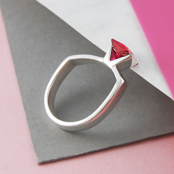 Faceted Ruby Birthstone Sterling Silver Ring