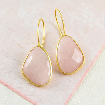 Irregular Rose Quartz Gold Statement Drop Earrings
