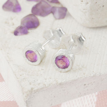 Amethyst Purple Birthstone Silver Round Earrings