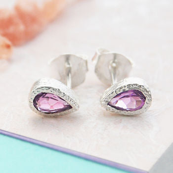 Amethyst February Purple Silver Teardrop Stud Earrings