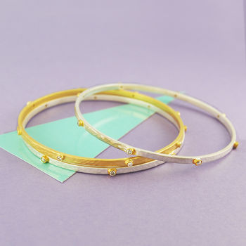 Silver And Gold Single White Topaz Bangle
