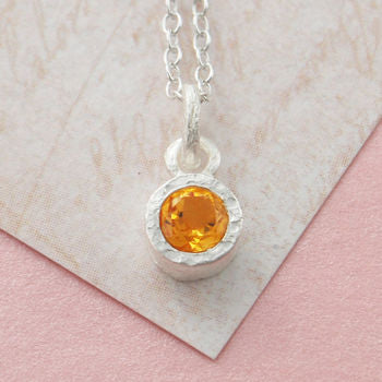 Silver Citrine Birthstone Textured Necklace