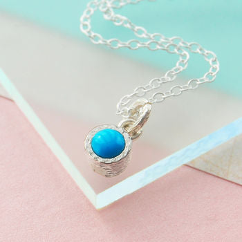 Silver Birthstone Round Turquoise Necklace