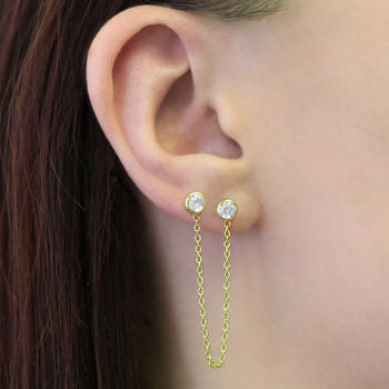Silver Double Stud Topaz Chain Earrings