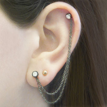 Silver Double White Topaz Chain Ear Cuff Earrings