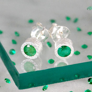 Precious Silver Emerald Birthstone Stud Earrings
