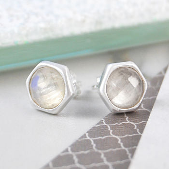 Silver Moonstone Birthstone Faceted Stud Earrings