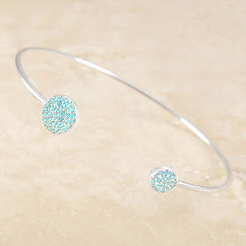 Adjustable Turquoise Birthstone Silver Bangle