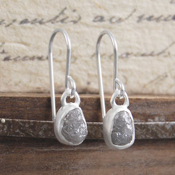 Silver Rough Diamond Bridal Birthstone Drop Earrings