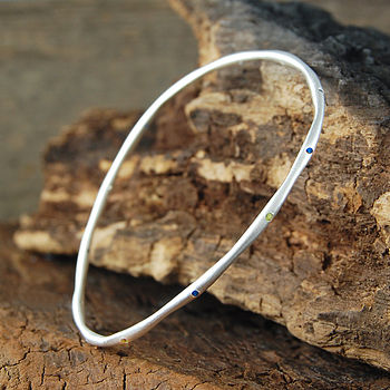 Sapphire Birthstone Silver Stacking Bangle