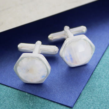 Solid Silver Moonstone Birthstone Cufflinks