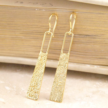 Textured Statement Silver Drop Earrings