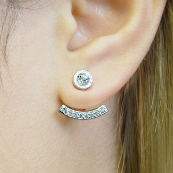 Silver Topaz Birthstone Ear Jacket Stud Earrings