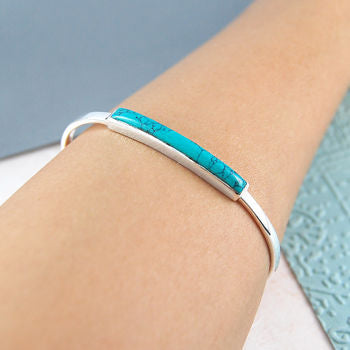 Genuine Turquoise Polished Cuff Silver Bangle