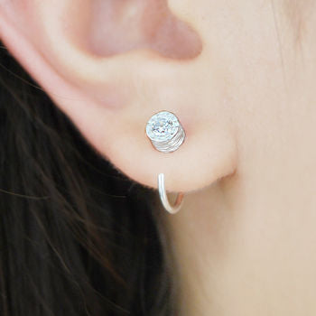 Silver White Topaz Stud Hoop Earrings