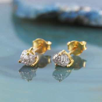 Tiny Vermeil Diamond Birthstone Stud Earrings