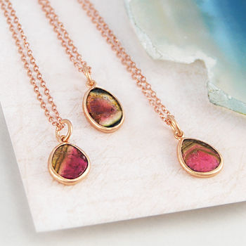 Small Watermelon Tourmaline Rose Gold Pendants