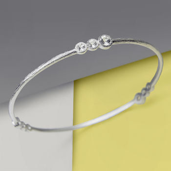 Solid Silver White Topaz Birthstone Bangle