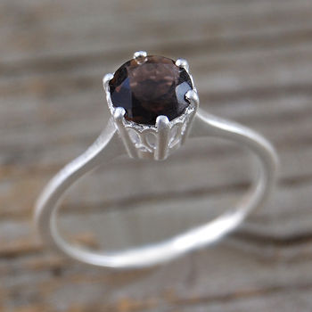 Solitaire Smoky Quartz Silver Engagement Ring