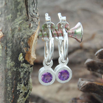 Sterling Silver Round Amethyst Purple Hoop Earrings