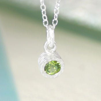 Peridot Birthstone Silver Round Solitaire Necklace