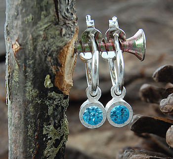 Sterling Silver Round Blue Topaz Hoop Earrings