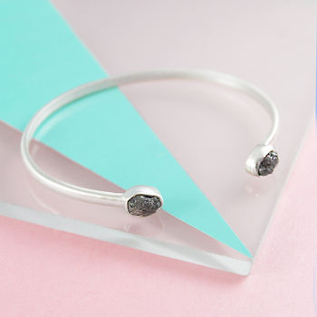 Rough Diamond Birthstone Silver Adjustable Bangle