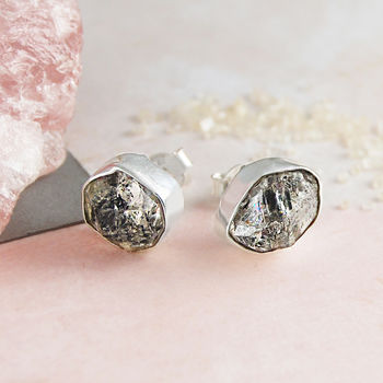 Silver Herkimer Diamond Birthstone Statement Earrings